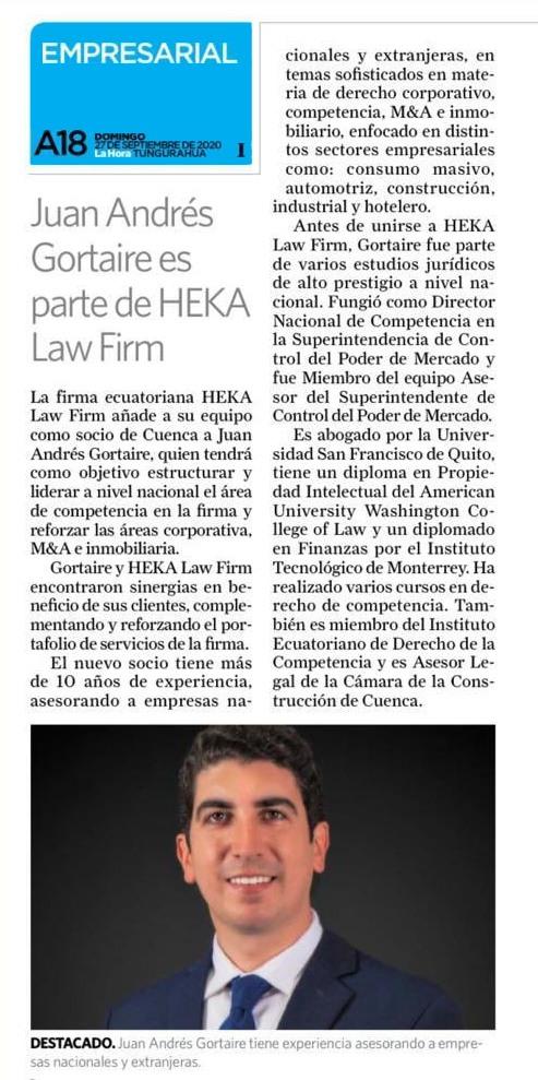 Diario La Hora, 27 de septiembre 2020